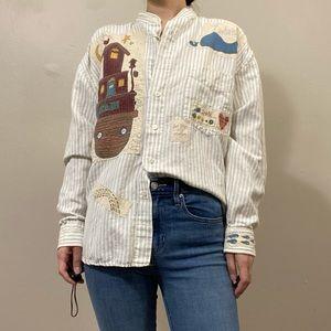 Vintage patchwork linen shirt